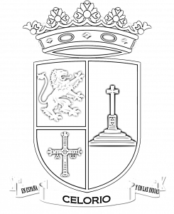Versin en blanco y negro del escudo de Celorio