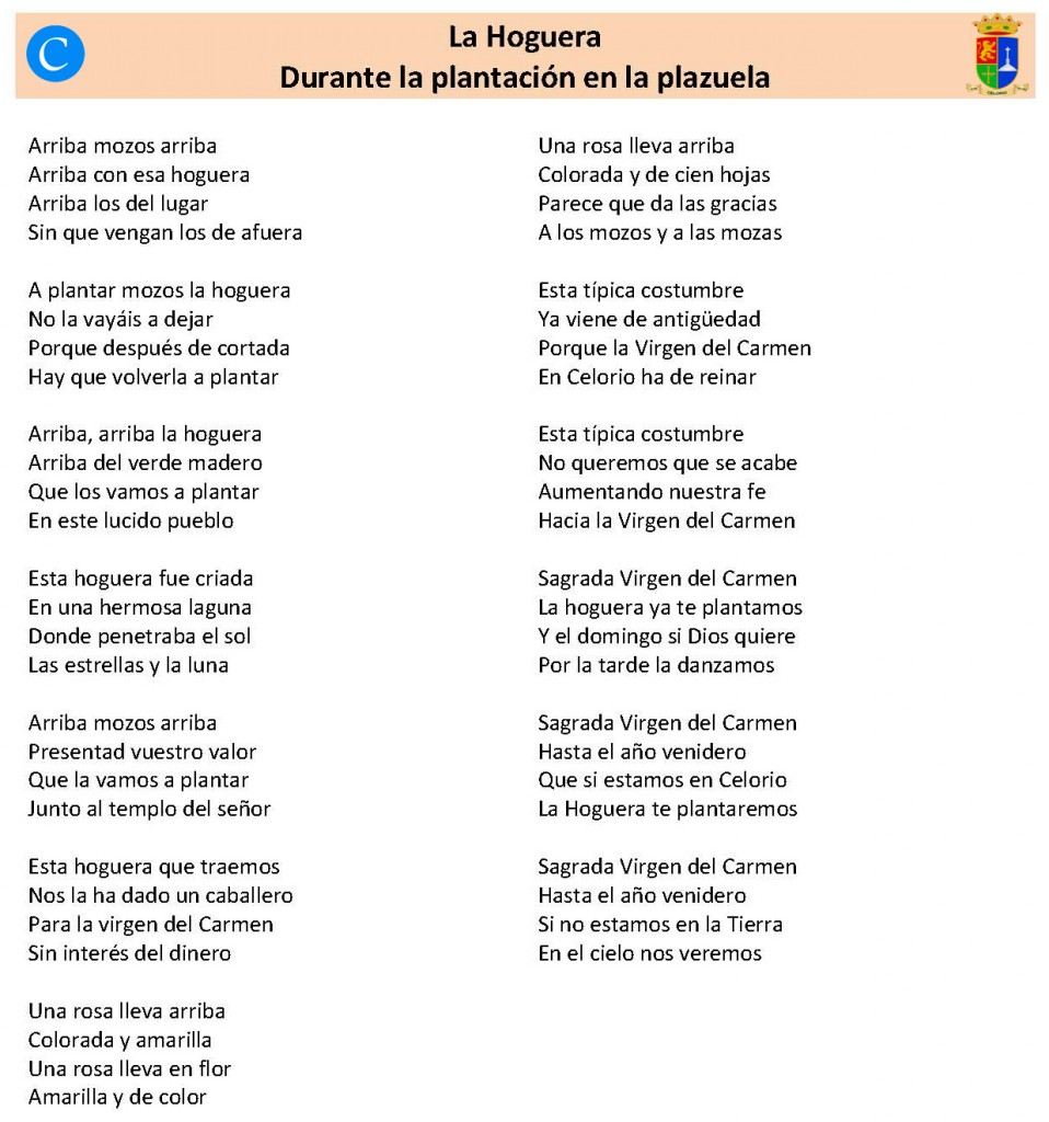 Canciones para las fiestas de Celorio, Llanes - Celoriu.com