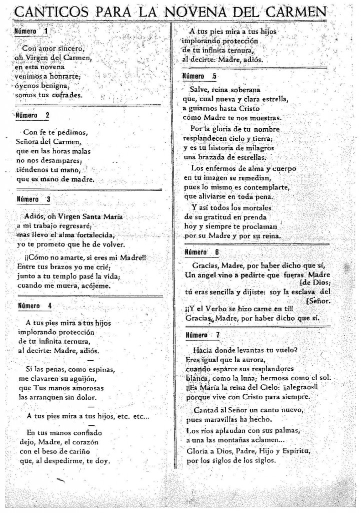 CÁNTICOS NOVENA DEL CARMEN CELORIO 1967_PORTADA