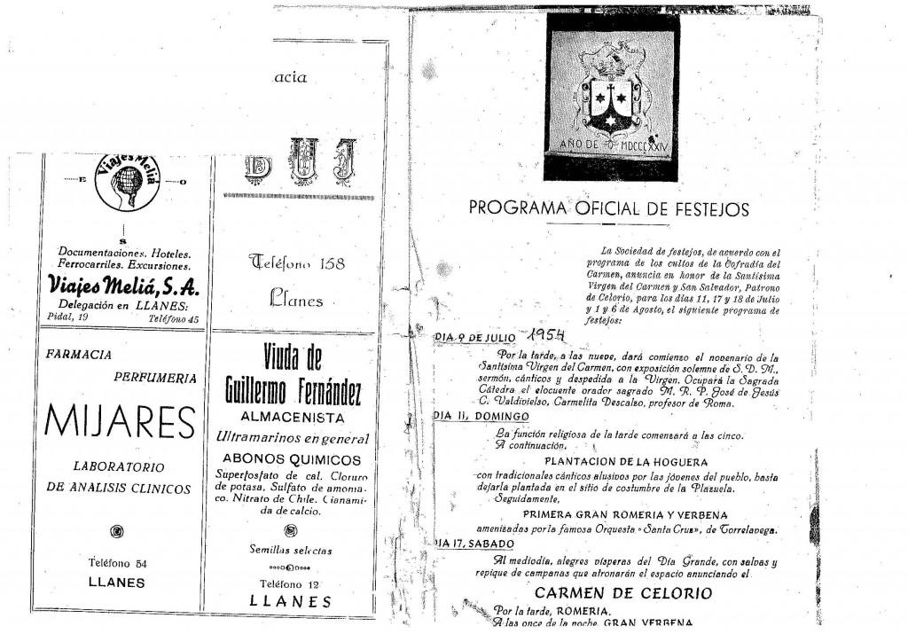 PROGRAMA FIESTAS CELORIO 1954_PORTADA