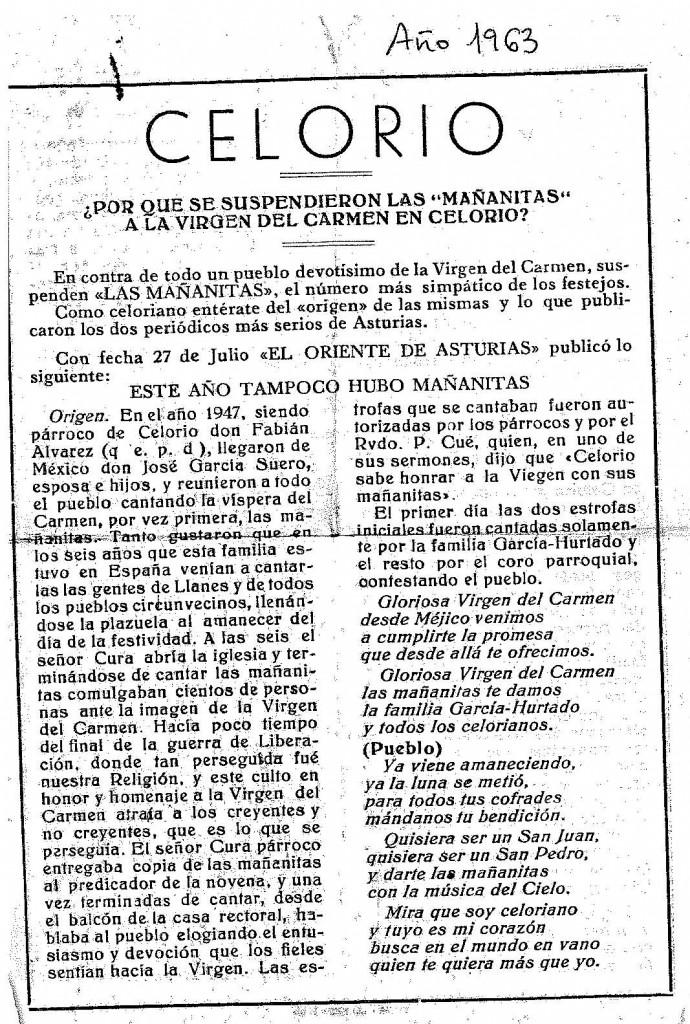 SE SUSPENDEN LAS MAÑANITAS CELORIO 1963