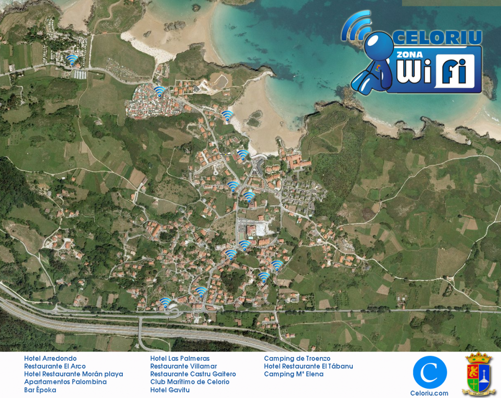 Mapa y listado de zonas WiFi en Celorio, Llanes - Celoriu.com