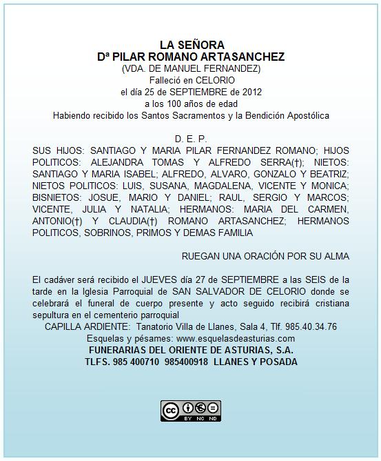Esquela de Pilar Romano - Celoriu.com
