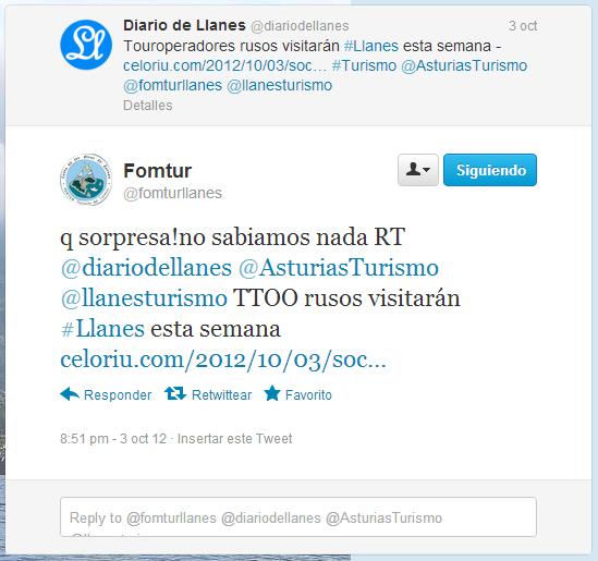 Captura del mensaje de Fomtur ante la noticia publicada por Celoriu.com