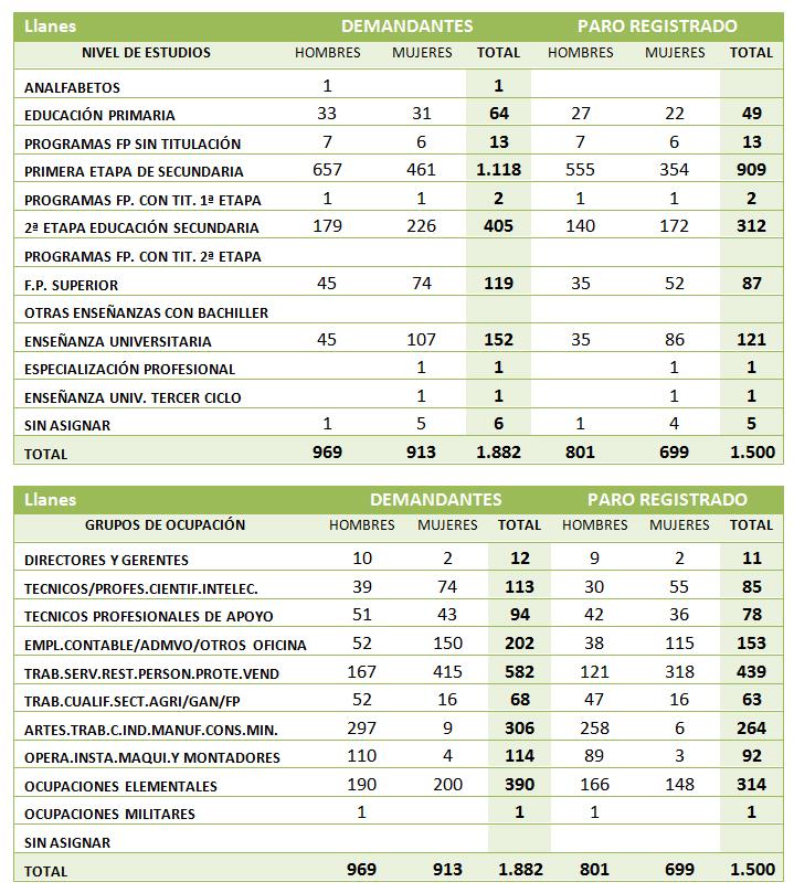 Cifras Paro desglosadas por nivel de estudios y grupo de ocupación en Llanes  - Enero 2013 - Celoriu.com