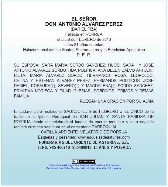 Esquela Antonio Álvarez Bar Pizá Porrúa - Celoriu.com