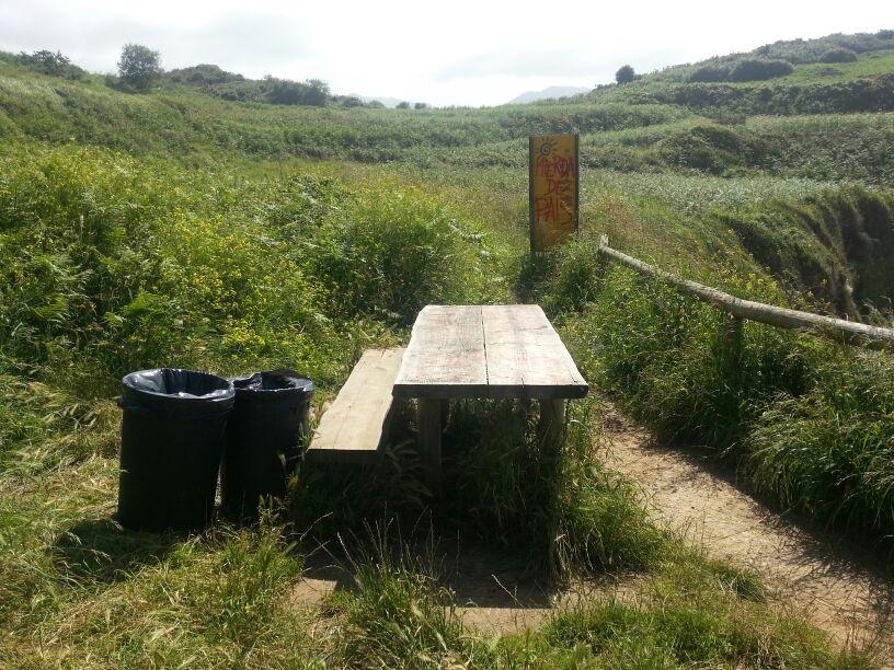 Dos cubos de basura junto a la mesa situada en Portiellu, Celorio - Celoriu.com