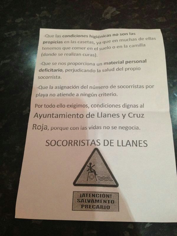 Boletín informativo que el sindicato CSI ha elaborado para denunciar la situación de los socorristas de Llanes - Celoriu.com